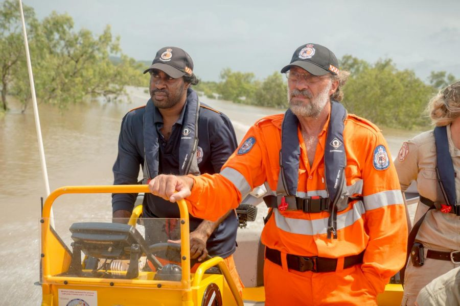 NTES on their flood boat at the Daly River floods