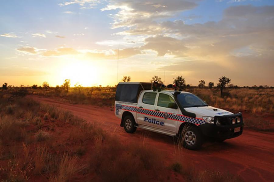 Sunset with Police car image